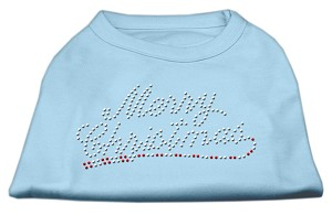 Merry Christmas Rhinestone Shirt Baby Blue XL